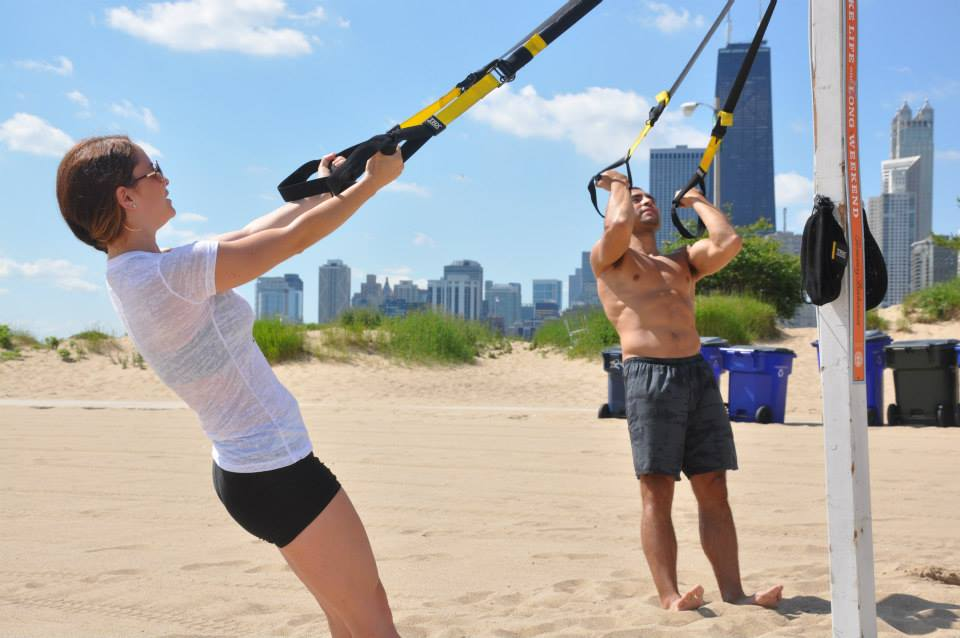Crosstown Fitness asweatlife fabfitchicago standup paddle board in chicago TRX at the beach