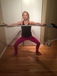 asweatlife fabfitchicago broom lunge no equipment workout broom twist bodyweight workout