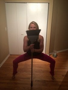 asweatlife fabfitchicago broom lunge no equipment workout broom pile bodyweight workout