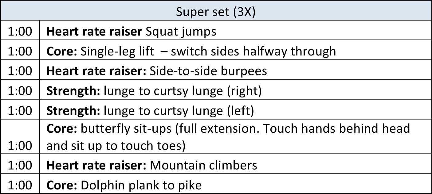 Super set workout at home