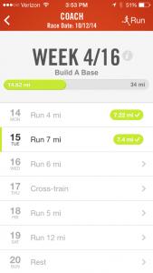 nike+ running app coach marathon training