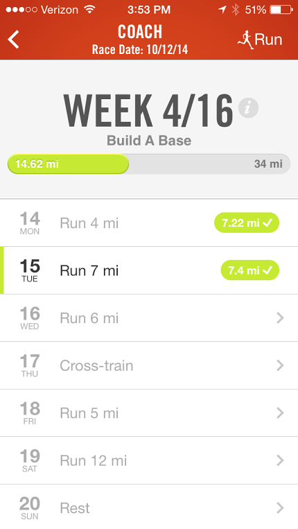 nike+ running app coach marathon training