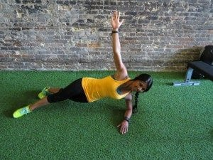 asweatlife fabfitchicago crosstownfitness workout at home no equipment workout side plank with rotation