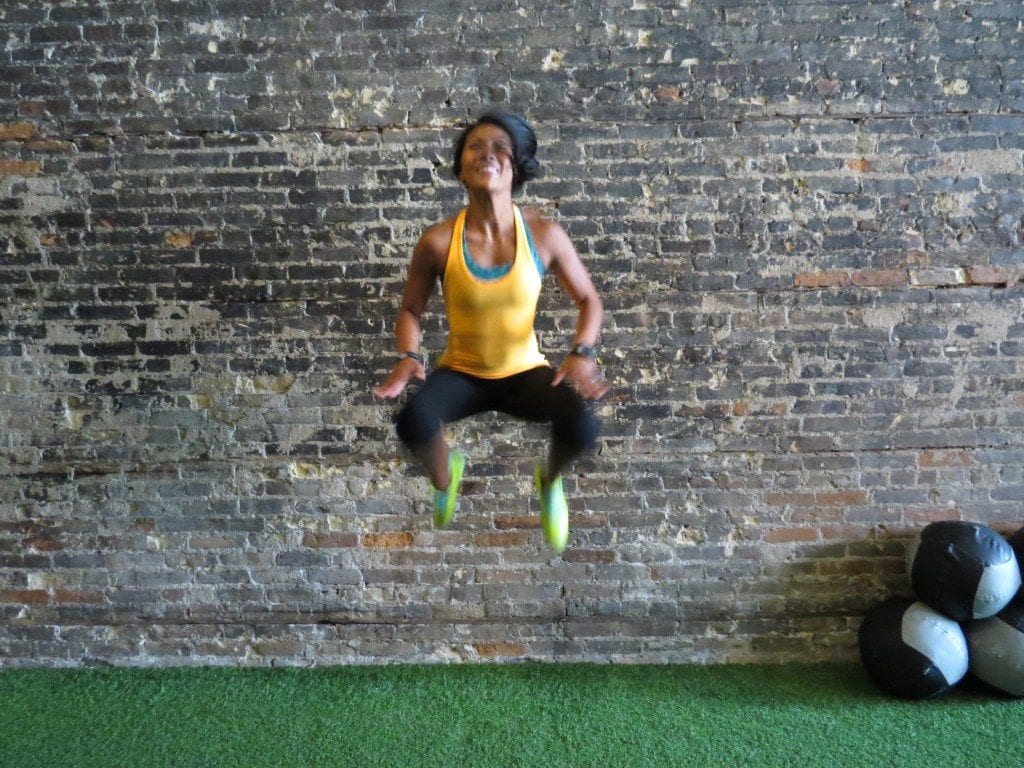 asweatlife fabfitchicago crosstownfitness workout at home no equipment workout tuck jump