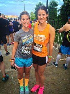 Kristen Geil and Cassie Gunderson before the Rock the Night 5K in Chicago IL asweatlife fabfitchicago marathon training