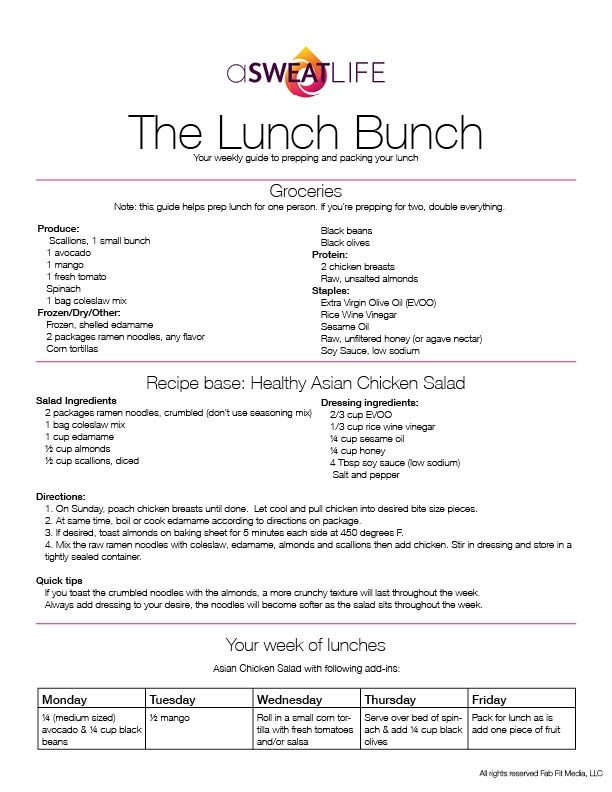 Lunch Bunch lunch packing resource asweatlife