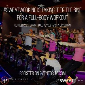 asweatlife sweatworking fitness networking event spinning class Chicago