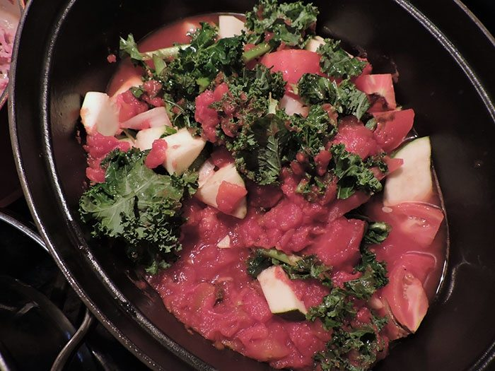 asweatlife Kale and Zucchini Tomato Stew Recipe healthy recipe