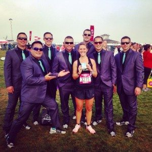 Nike Women's Half Marathon San Francisco finish line with firemen in tuxes and Tiffany necklace
