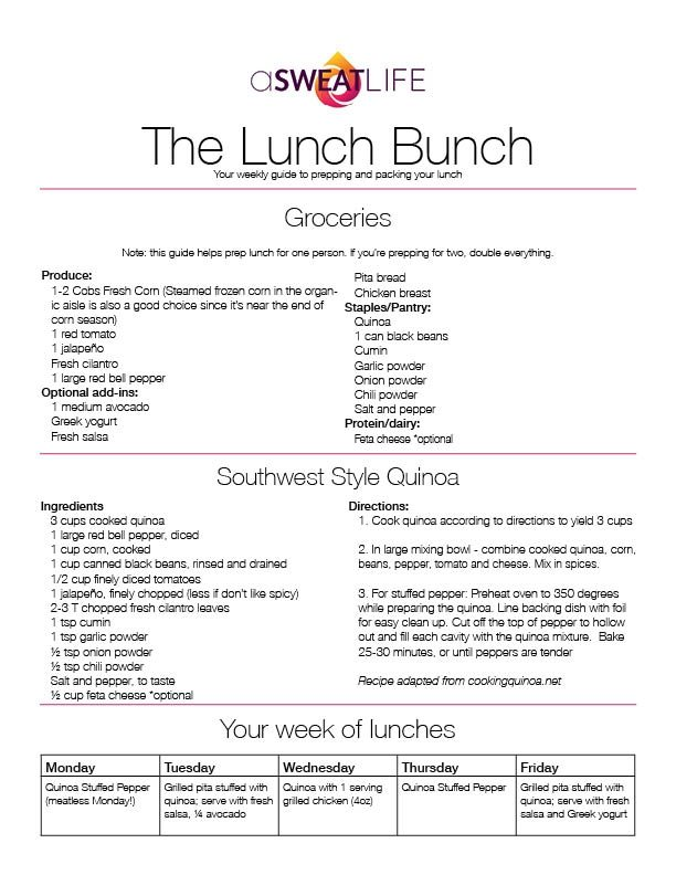 asweatlife lunch bunch quinoa recipe