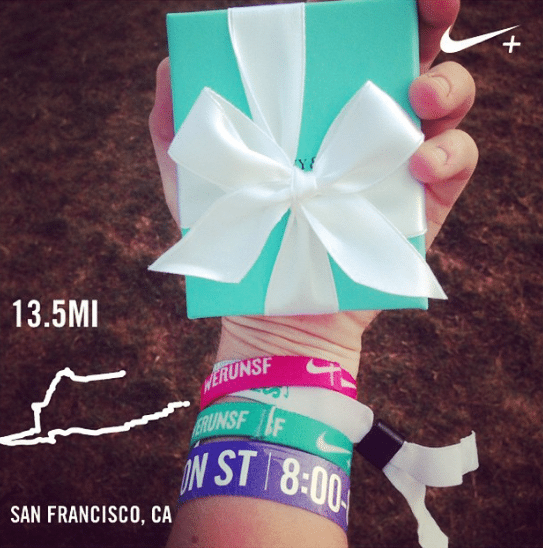 Nike Women's Half Marathon San Francisco Tiffany's necklace