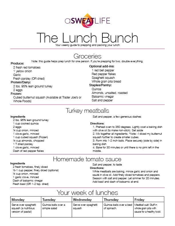 asweatlife turkey meatball recipe lunch bunch