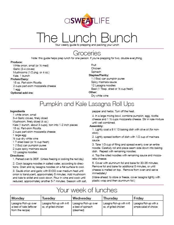 asweatlife lasagna roll up recipe Pumpkin and Kale Lasagna Roll Up Recipe