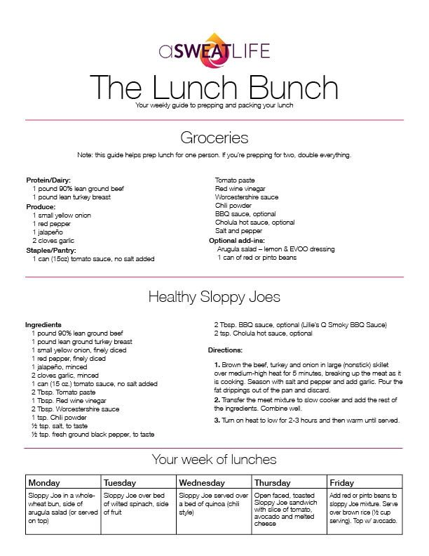 asweatlife The Lunch Bunch: Healthy Sloppy Joe Recipe