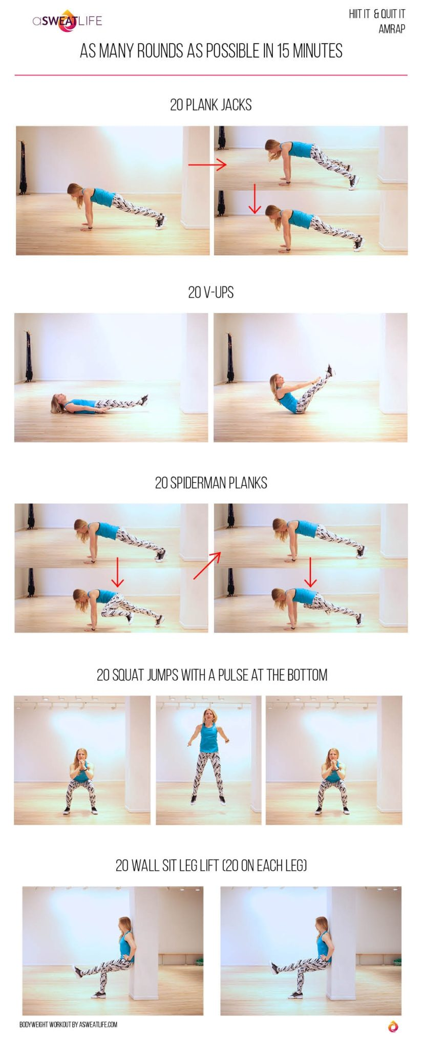 asweatlife_Your Body Weight Workout - As Many Rounds As Possible