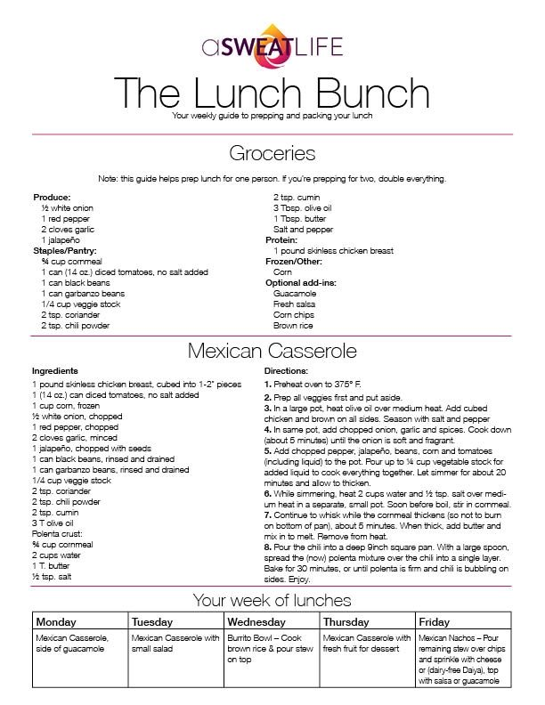 asweatlife_The Lunch Bunch Mexican Casserole Recipe