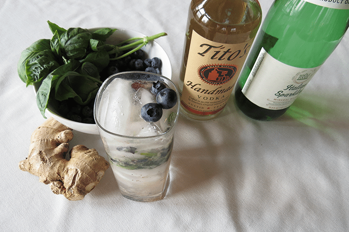 asweatLife_Clean-Cocktails-for-July-4th_Blueberry-basil-ginger-vodka-mash