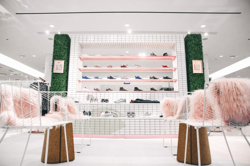Nordstrom x Nike sneaker wall Chicago
