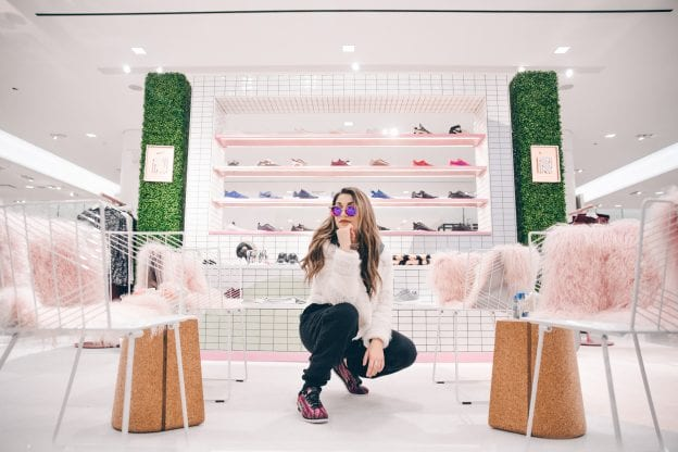 Andrea Russett at Nordstrom x Nike shop