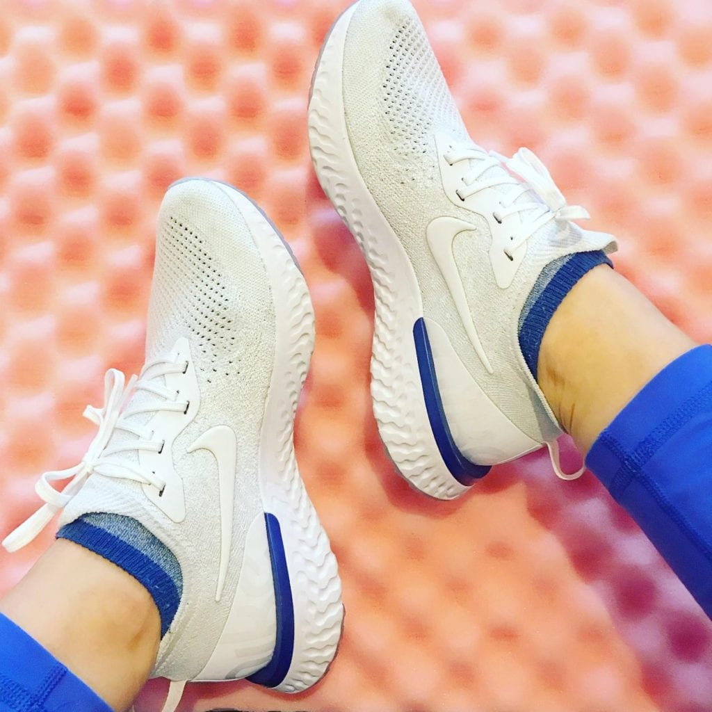 White Nike Epic React Flyknit Running Shoes