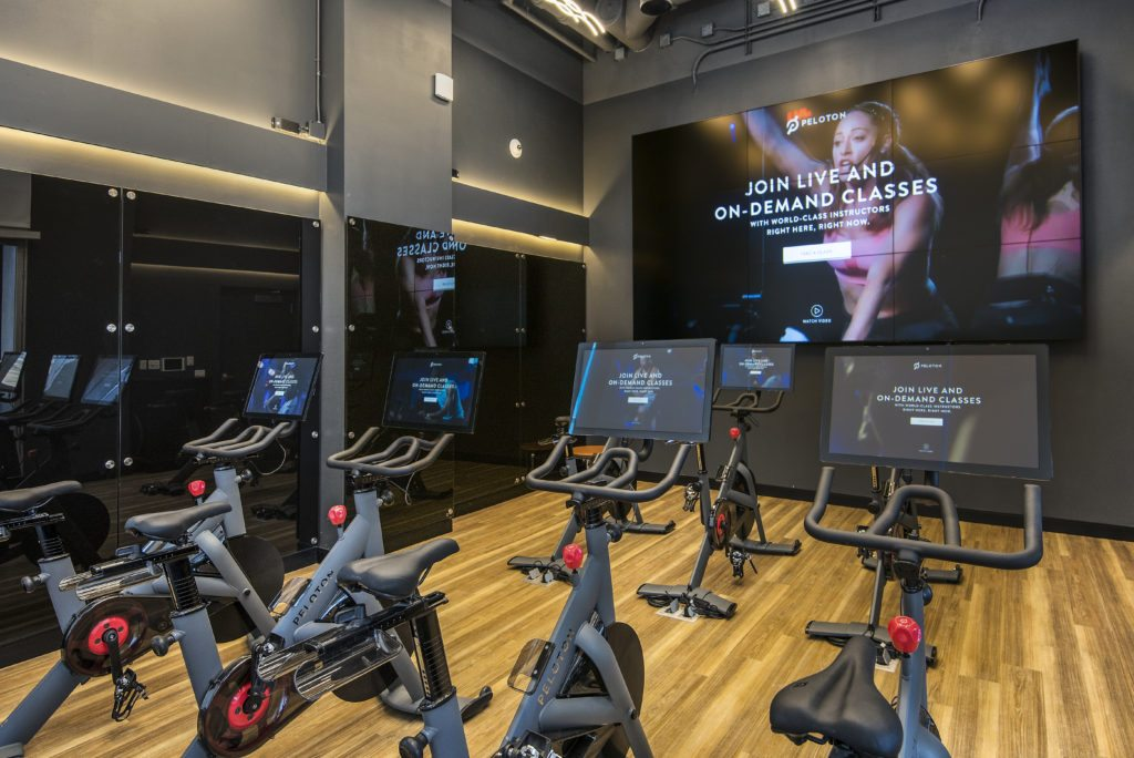 Peloton studio at Spoke apartment building
