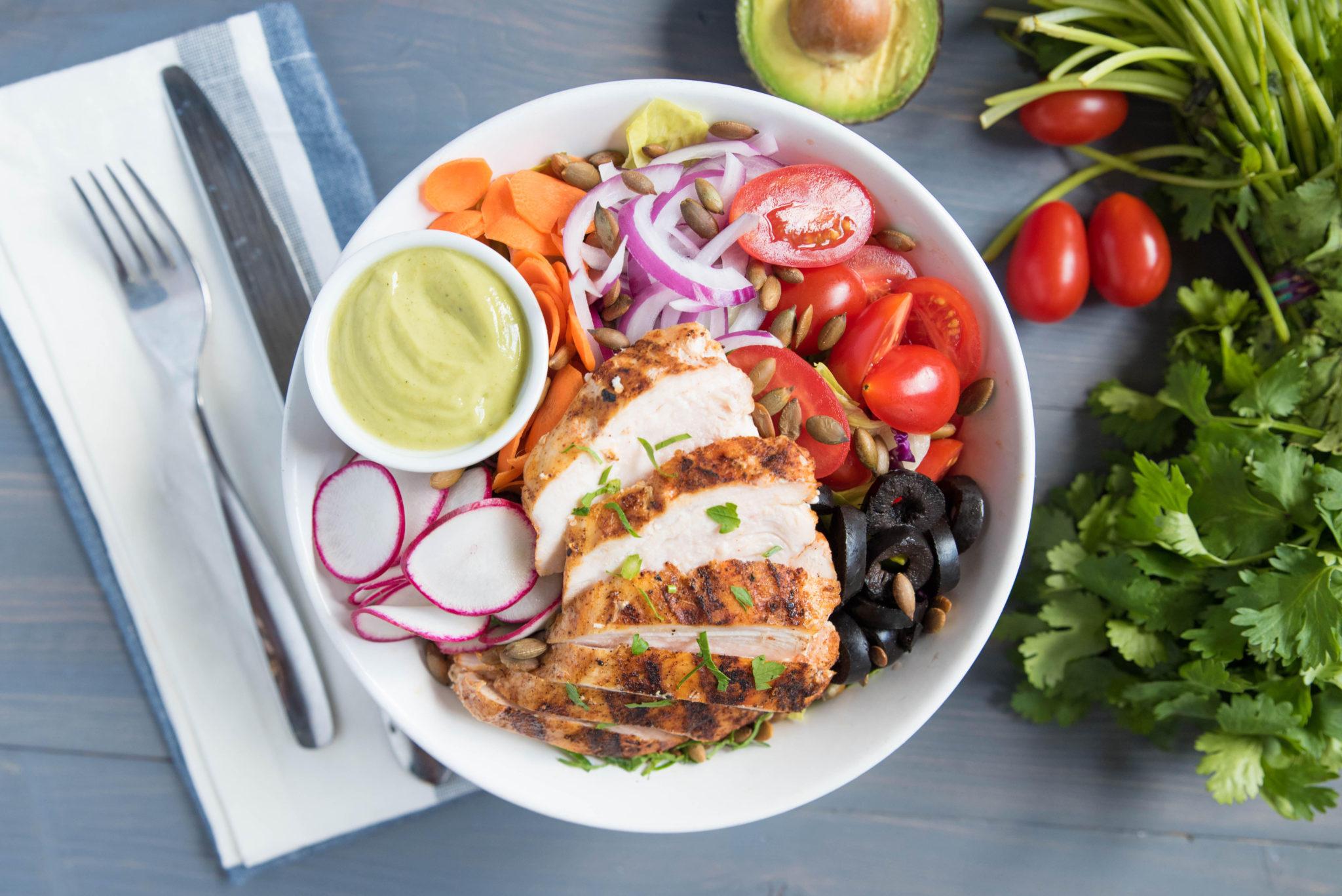 Kitchfix Grilled Chicken Salad with Avocado Vinaigrette