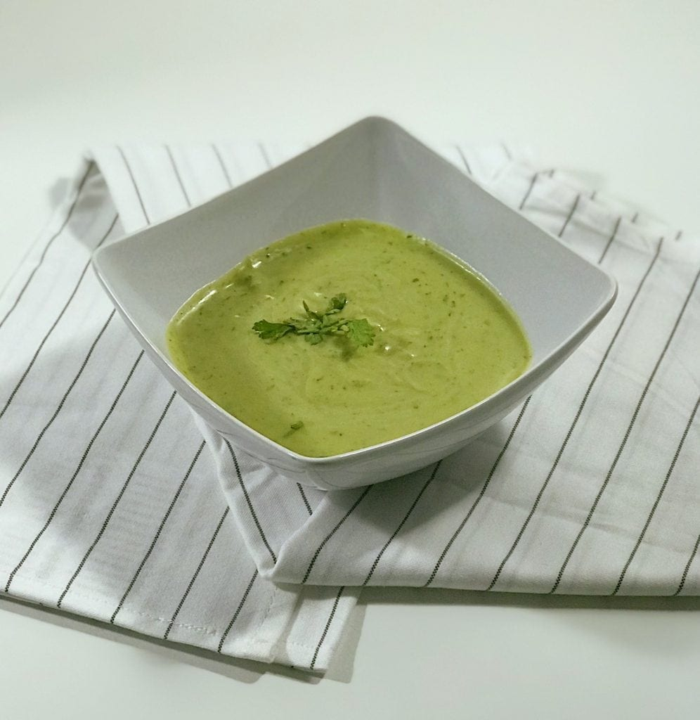 Chilled avocado and cucumber cold soups