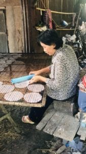 making rice paper in cambodia