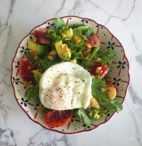 breakfast salad with kale, blood orange, egg