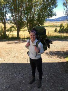 Cass with her backpack in Patagonia