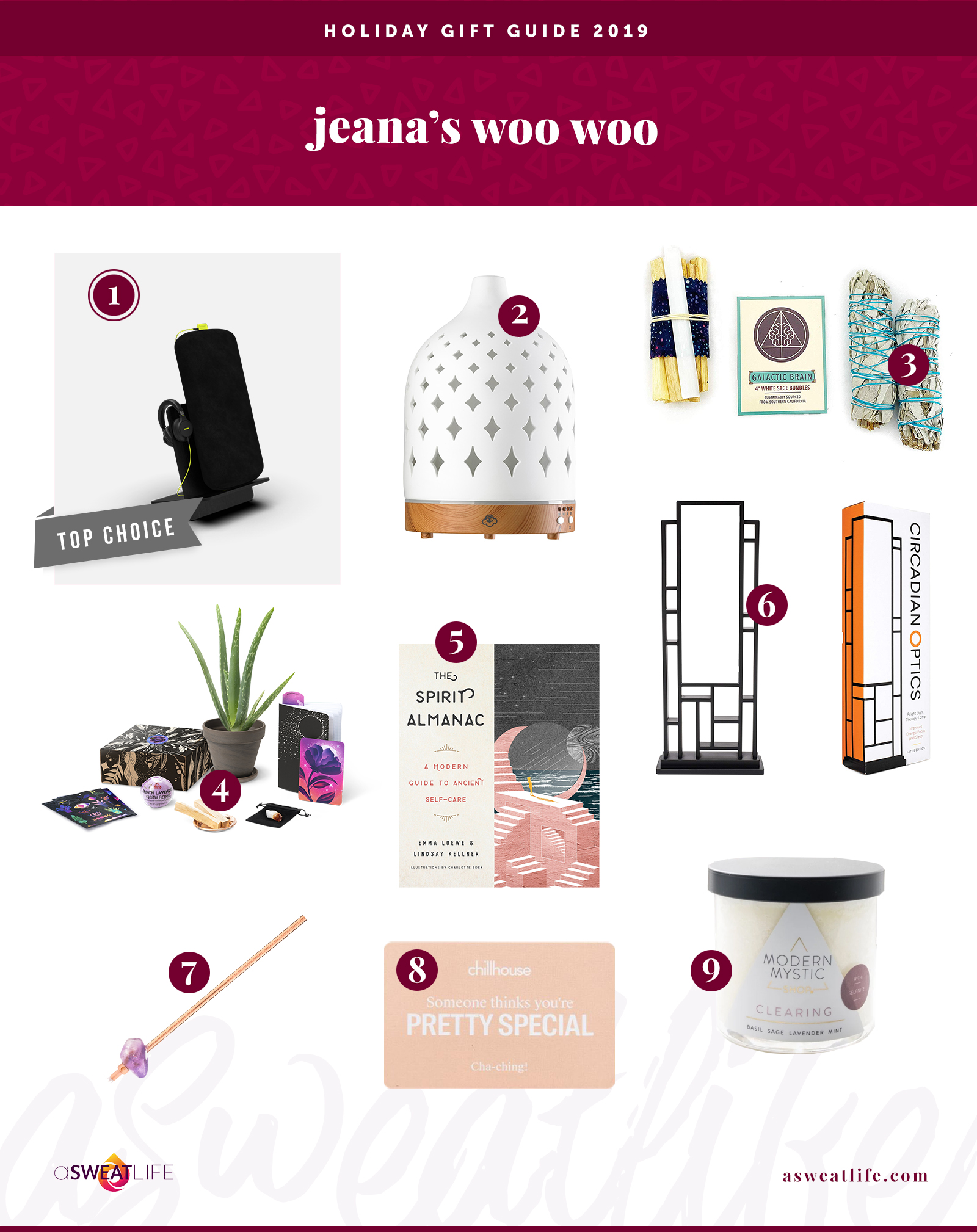 aSweatLife gift guide, woo-woo holiday gifts