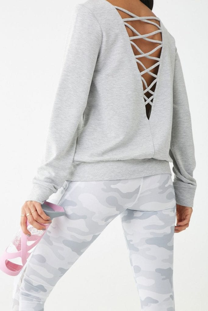 forever21 crisscross back sweatshirt affordable activewear