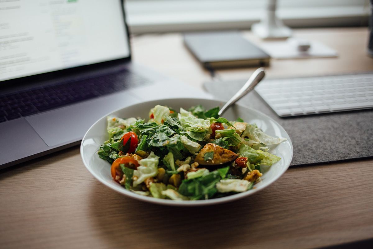 healthy office snacks in a desk side pantry