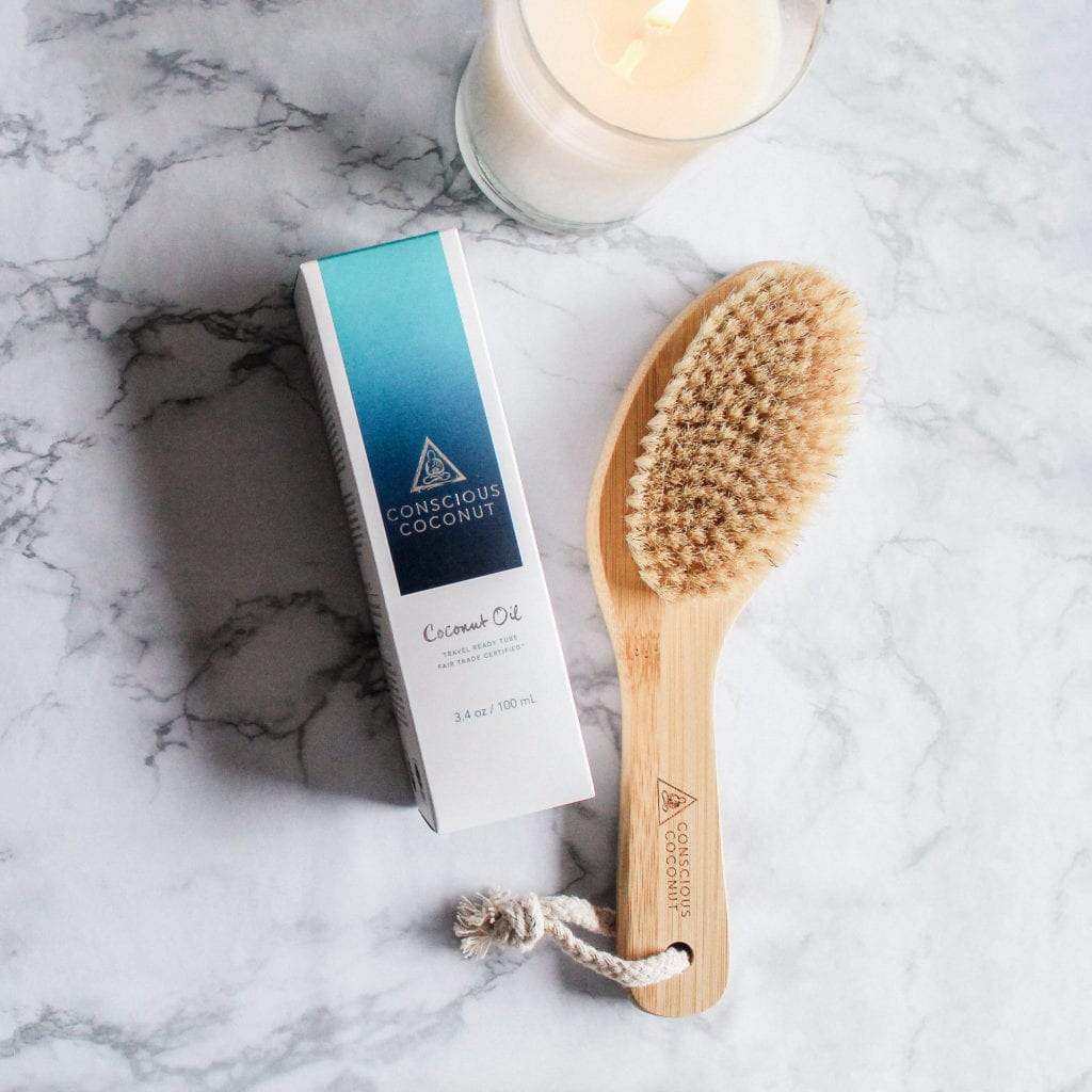 conscious coconut dry brushing