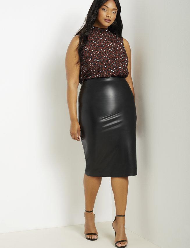 Vegan Leather Column Skirt from Eloquii