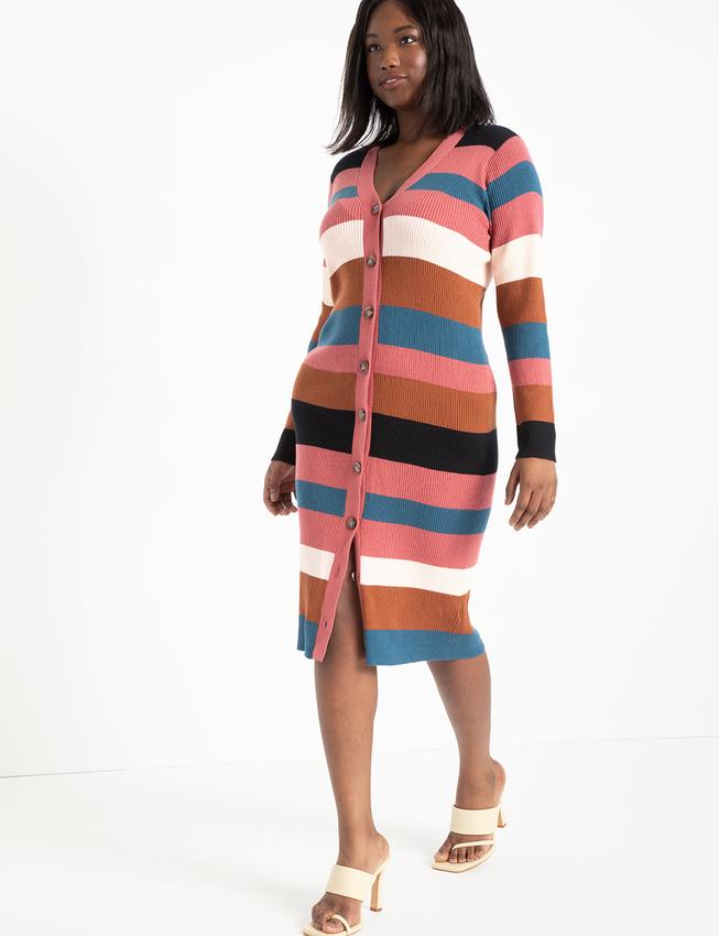 Striped Cardigan Sweater Dress from Elouquii
